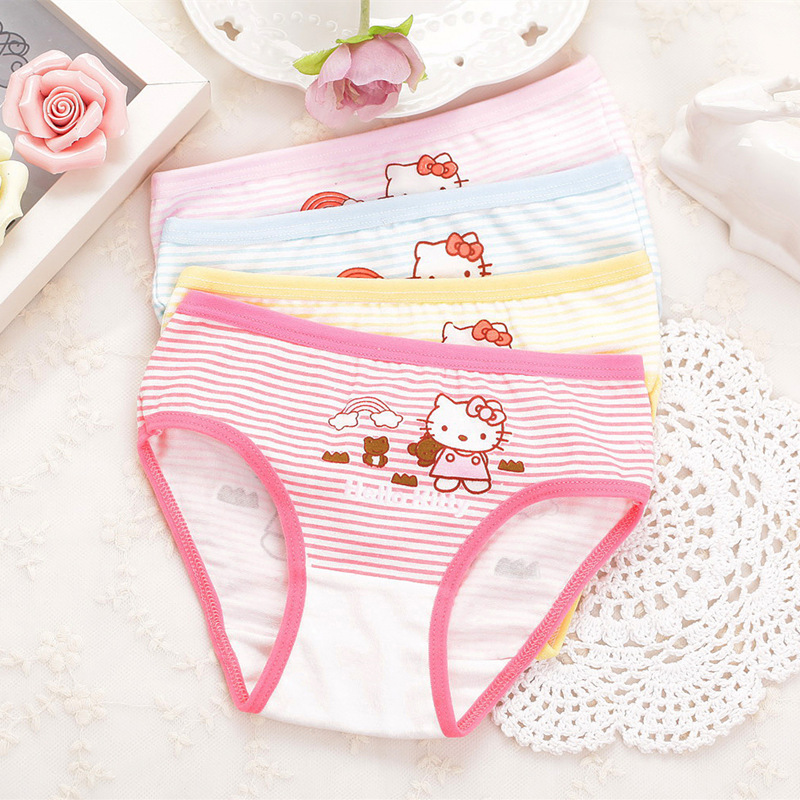 Children's Underpants Shorts Girls Cotton Panties Underwear Kids Baby Infant Briefs Kids Cartoon Cat 1 Piece