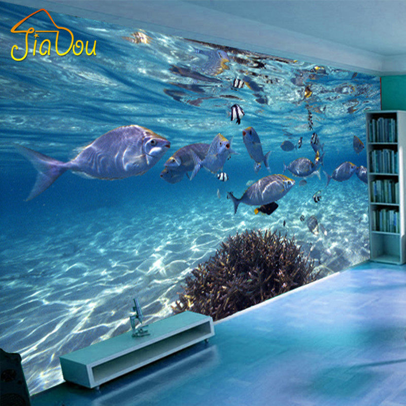 Custom Photo Wallpaper 3D Stereoscopic Underwater World Of Marine Fish Living Children's Room TV Background 3D Mural Wallpaper купить