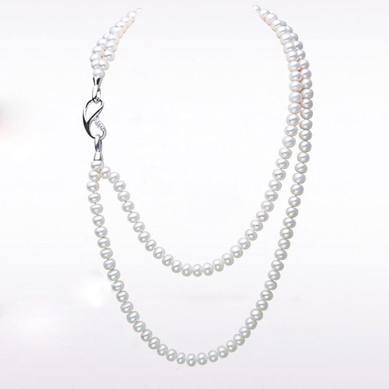 купить RUNZHUQIYUAN 2017 100% natural freshwater pearl long necklace 8-9 MM Nearround Pearl 93cm for Woman Best Gifts for girls wedding по цене 3141.48 рублей