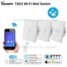 SONOFF T2EU TX Smart Wifi Wall Touch Switch With Border Smart Home 1/2/3 Gang 433 RF/Voice/APP/Touch Control Work With Alexa
