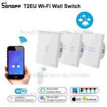 SONOFF T2EU TX الذكية Wifi مفتاح حائط يعمل باللمس مع الحدود الذكية المنزل 1/2/3 عصابة 433 RF/صوت /APP/التحكم باللمس العمل مع اليكسا