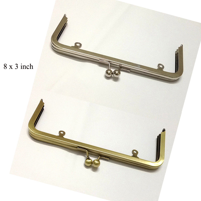 8 x 3 inch silver purse frame with loops - 16pcs