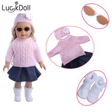 LUCKDOLL Knitted Sweater Denim Skirt Glasses Fit 18 Inch American 43cm Baby Doll Clothes Accessories,Girls Toys,Generation,Gift(China)