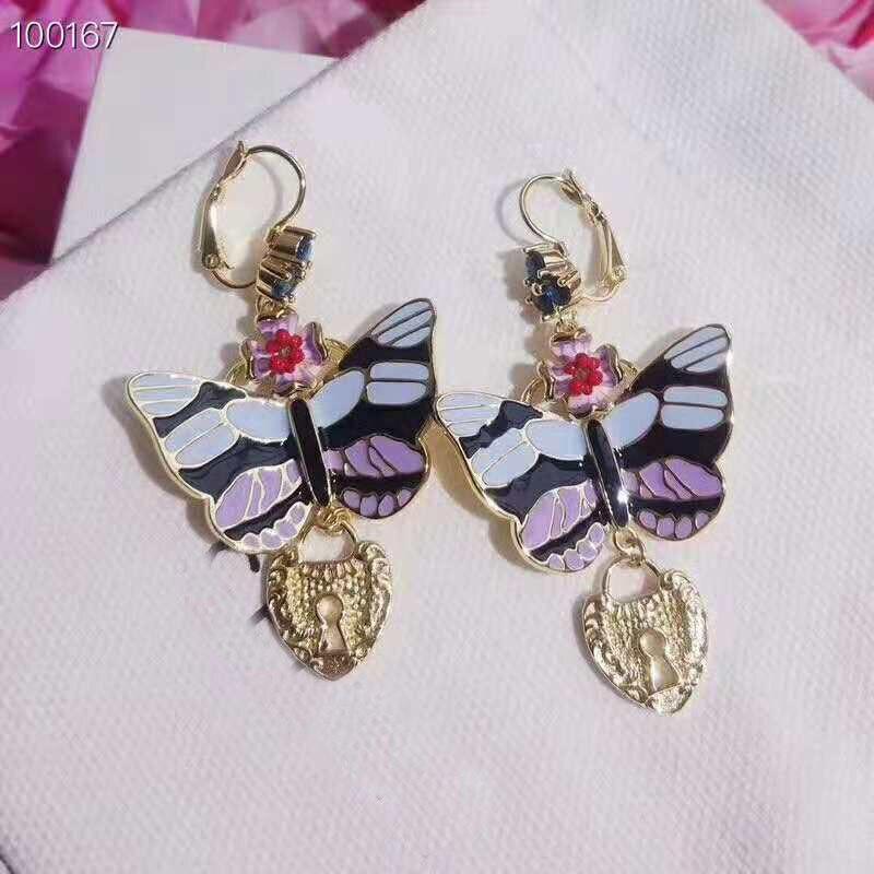 XIFAN mignon romantique belle pierre fleur forme papillon boucles d'oreilles cuivre cubique zircone pour les femmes fête