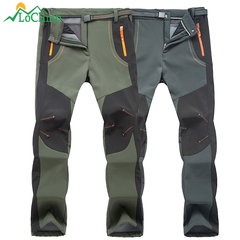 LoClimb Men Women Winter Camping Hiking Pants Outdoor Sport Softshell Warm Fleece Trousers Trekking Waterproof Ski Pants,AM110 цена
