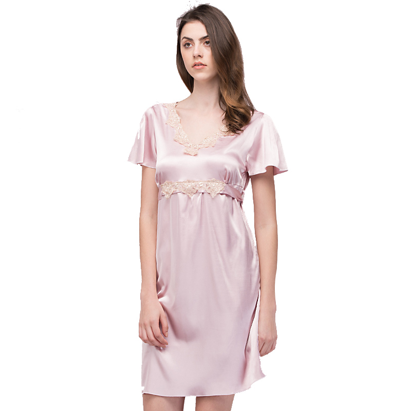 Luxurious Women   Nightgowns     Sleepshirts   2017 Faux Silk Ladies   Nightgown   Summer New Short Nightie Female Night Dress