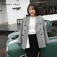 Womens jacket fashion temperament gray check large size double-breasted suit casual ladies blazer office shirt