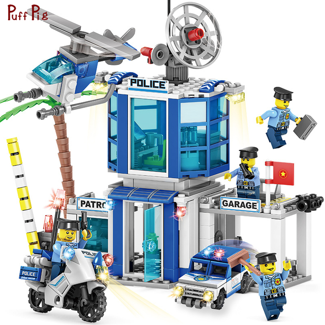 365pcs 4 in 1 Police Station SWAT Motorbike Car Helicopter Model Building Blocks Compatible Legoed City Bricks Educational Toys