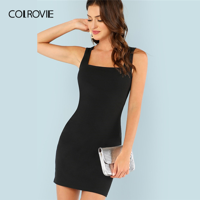 be2593595f0 COLROVIE Black Solid Keyhole Back Bodycon Elegant Short Dress Women 2019  Summer Sleeveless Straps Sundress Sexy Party Dresses