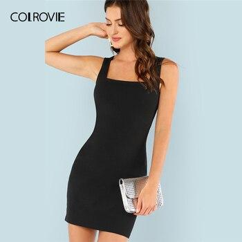 5ecb1b222cdb COLROVIE negro sólido Keyhole Back Bodycon elegante vestido corto mujeres  2019 verano sin mangas tirantes vestidos de fiesta Sexy