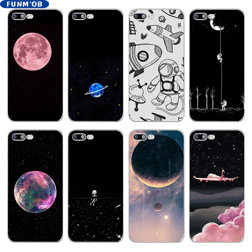Galleria fotografica Space Planet Moon Soft Silicone Transparent TPU Phone Case Cover For iphone 6 6s 7 8 Plus 5s SE X Xs Max Xr Capinha Coque Fundas
