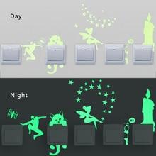 6PCS New Luminous Cartoon DIY Switch Sticker Wall Sticker Decoration Fluorescent Living Room Children Room Home Decor
