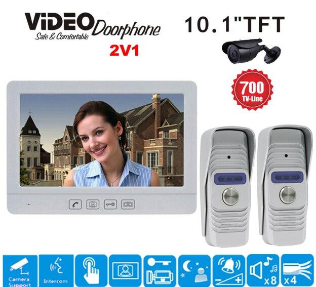 ZHUDELE 10.1 Luxury Display Color Video Door Phone Touch Button Doorbell Intercom support CCTV camera IR HD Camera 2V1