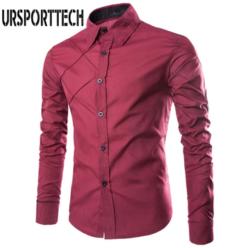 цена на URSPORTTECH Brand Men's Long Sleeve Shirt Leisure Plaid Alignment Design Long Sleeve Shirt Mens Thin Shirt Business Dress Shirts