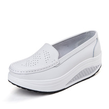Nursing Shoes Non-slip Scrub Shoes Leather Shake Shoes Workwear Slip-ons Platform Shoes for Women