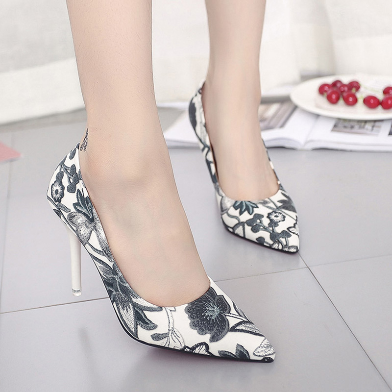 Woman Slip On Shoes Fashion Leaves Printing Ladies Sexy Stiletto Female Floral Thin Wome ...