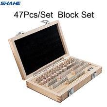 Bloco Bitola shahe 47 Pçs/set 1 grau 0 grau Inspeção Bloco bloco de Calibre Ferramenta de Medição Paquímetro