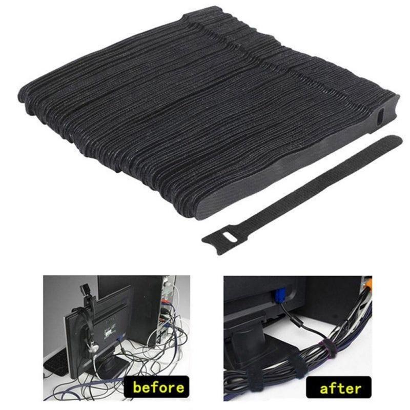 100Pcs Reusable Nylon Hook Loop Cable Cord Ties Tidy Straps Organiser tall