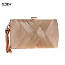 MZMGV Classic Women Metal Tassel Clutch Evening Bag Wedding Chain Shoulder Handbags Lady Clutch Bag Classical Style Small Purse xiyuan brand lady ethnic handmade gemstone diamond evening bag dinner clutch purse bridal clutch wedding chain shoulder hand bag