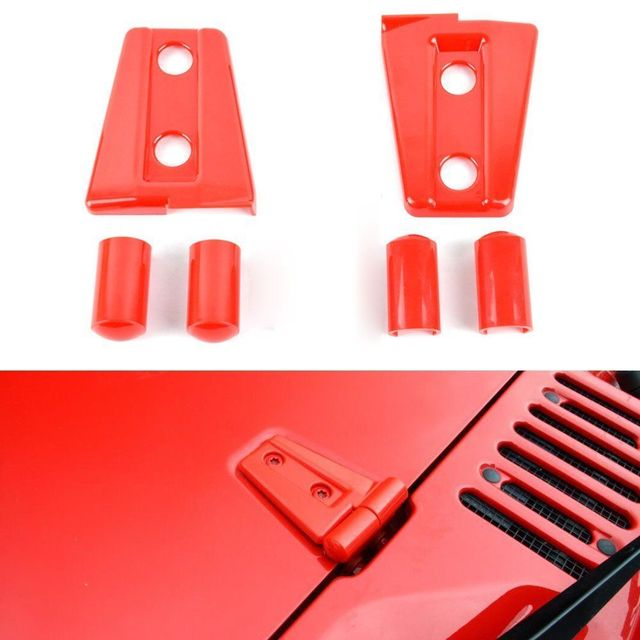 BBQ@FUKA New 2 Door Red/Black Car Hood Hinge Cover Protector Trim Styling Fit For 2007-2016 Jeep Wrangler JK Car accessory