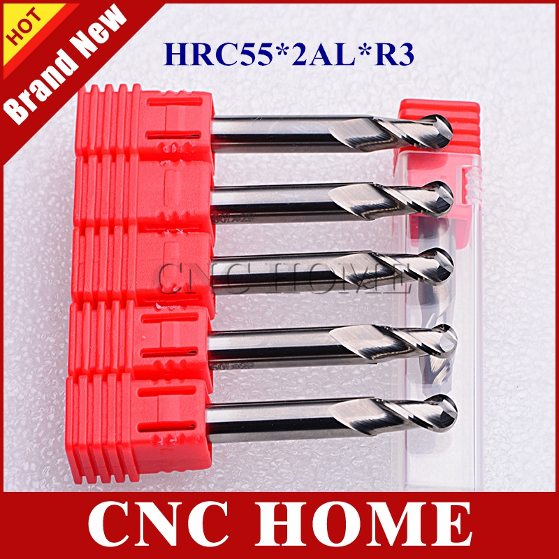 5pcs 6mm R3 HRC55 2 flutes ball nose aluminum end mill tungsten solid carbide milling cutter