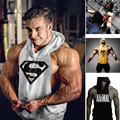 Hooded Sleeveless Shirt Mens Fitness Hoodies Tanks Skull Gymshark Logo Hoodies Cotton Tank Tops Men Muscle Vest Slim Fit Clothes