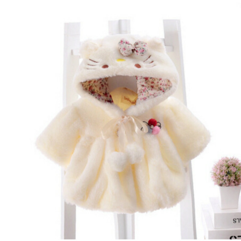 1f2ae23e1 Baby Coats Thick Winter Warm Girls Clothes Cloak Cute flowers Hooded ...