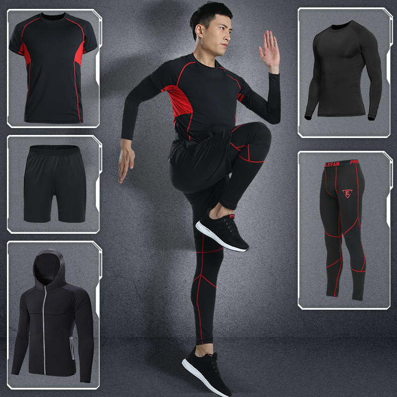 LEFAN New Quick-dry Fitness Sets Men Bodybuilding Gym Sportswear Clothes Sets Male Training Running Tracksuits Sport Suits 5pcs libo breathable fitness sleeveless basketball suits for male