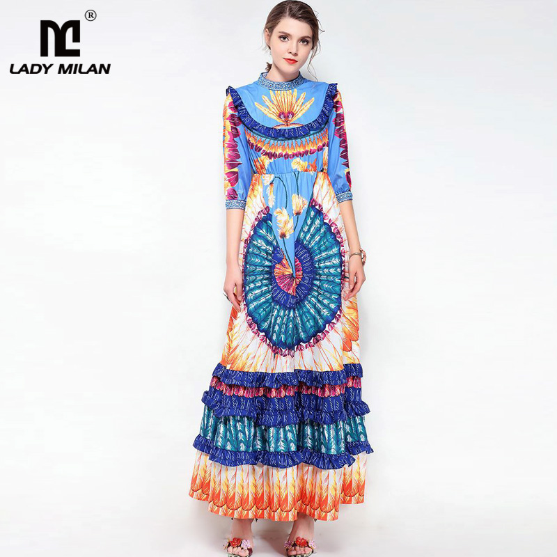Lady Milan 2018 Womens O Neck 3/4 Sleeves Floral Printed Tiered Ruffles Fashion Designer Casual Long Dresses