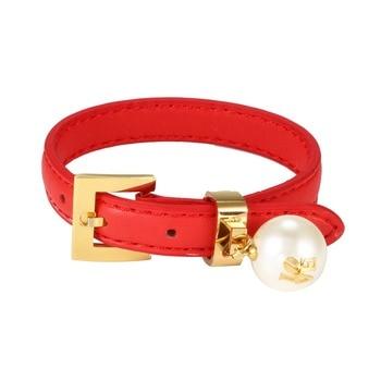 44f901ba6140 De cuero de moda pulsera perla encantos pulseras para hombres mujeres Vintage  Punk Wrap pulsera Acero inoxidable joyería Bijoux