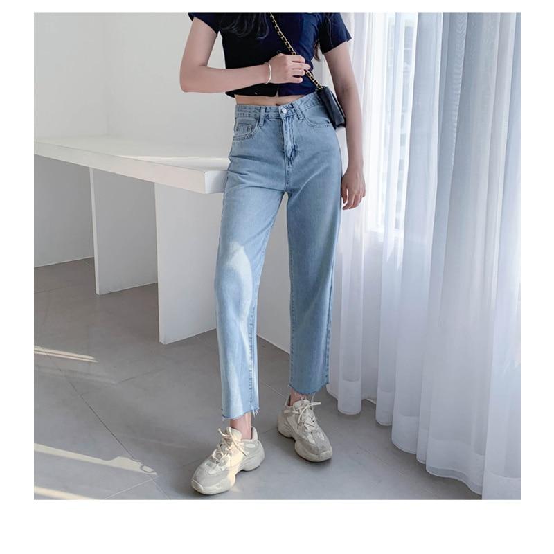 JUJULAND Vintage High Waist Jeans Woman 2019 Blue Mom Boyfriend Jeans For Women Denim Pants Female Trousers Streetwear 8828