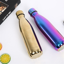 цена на Stainless Steel Thermos Solid Color Water Bottle Gold Vacuum Flask Insulated Cold Heat Drink Bottle Outdoors Beer Coffee Cup