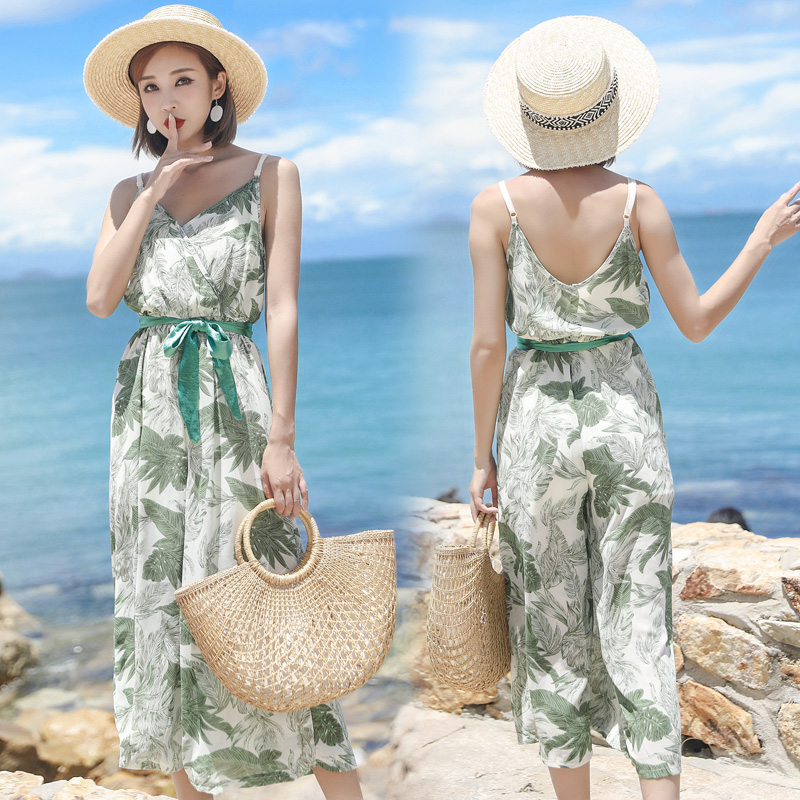 8d489057846 Aliexpress.com   Buy Pengpious 2018 summer female strap jumpsuits cross v  neck fashion printed chiffon rompers young lady beautiful bohemian trousers  from ...