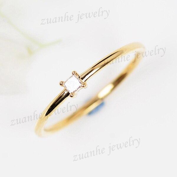 Women Wedding Ring Princess Cut Cubic Zirconia Solid 14k Yellow Gold Simplicity Elegant Girl Cute Jewelry Size 3 9