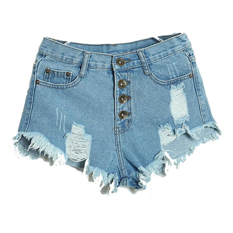 Hot Summer Female Mid Waist Denim Shorts Women Worn Loose Burr Hole Jeans Shorts Blue White Black Denim Shorts High Quality summer women fashion high waist jeans shorts worn hole straight denim shorts solid blue curling edge poket casual shorts
