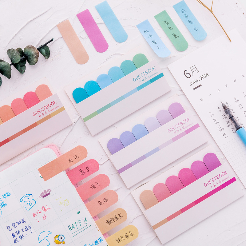 2 PCS Cute DIY Color Gradient Office Novelty Sticky Notes Planner Stickers Page Index Post It School Office Supplies Stationery