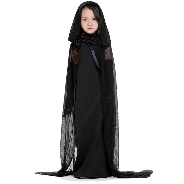Free Shipping Kids Adults Black Ghost Costume Evil Witch Costume Gothic Cosplay Floor-length Cloak  sc 1 st  AliExpress.com & Free Shipping Kids Adults Black Ghost Costume Evil Witch Costume ...