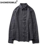 SHOWERSMILE Gray Flannel Plaid Shirts Men Casual Long Sleeve Shirts Cotton Slim Autumn Tartan British Style