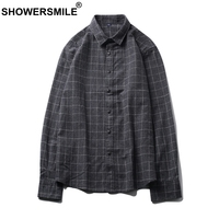 SHOWERSMILE Gray Flannel Plaid Shirts Men Casual Long Sleeve Shirts Cotton Slim Autumn Tartan British Style