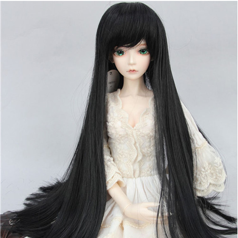 Hot Sale Black Long 1/3 1/4 1/6  BJD Hair SD Doll Wig MSD BJD SD DOD fashion black hair extension fur wig 1 3 1 4 1 6 bjd wigs long wig for diy dollfie