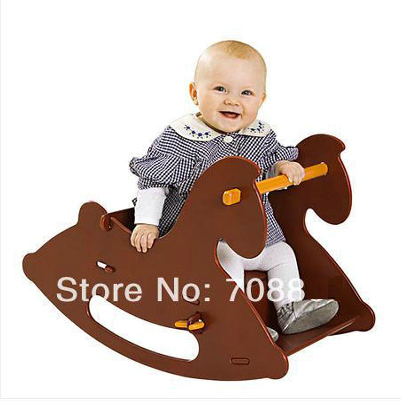 Wooden Rocking Horse Red/Nature Color For Available Swing Baby Cradle 2017 new babyruler portable baby cradle newborn light music rocking chair kid game swing