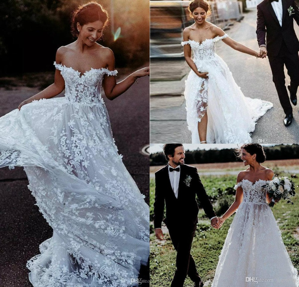 Beach Wedding Gowns Pinterest: 2019 Bohemian Wedding Dresses Off The Shoulder Lace 3D