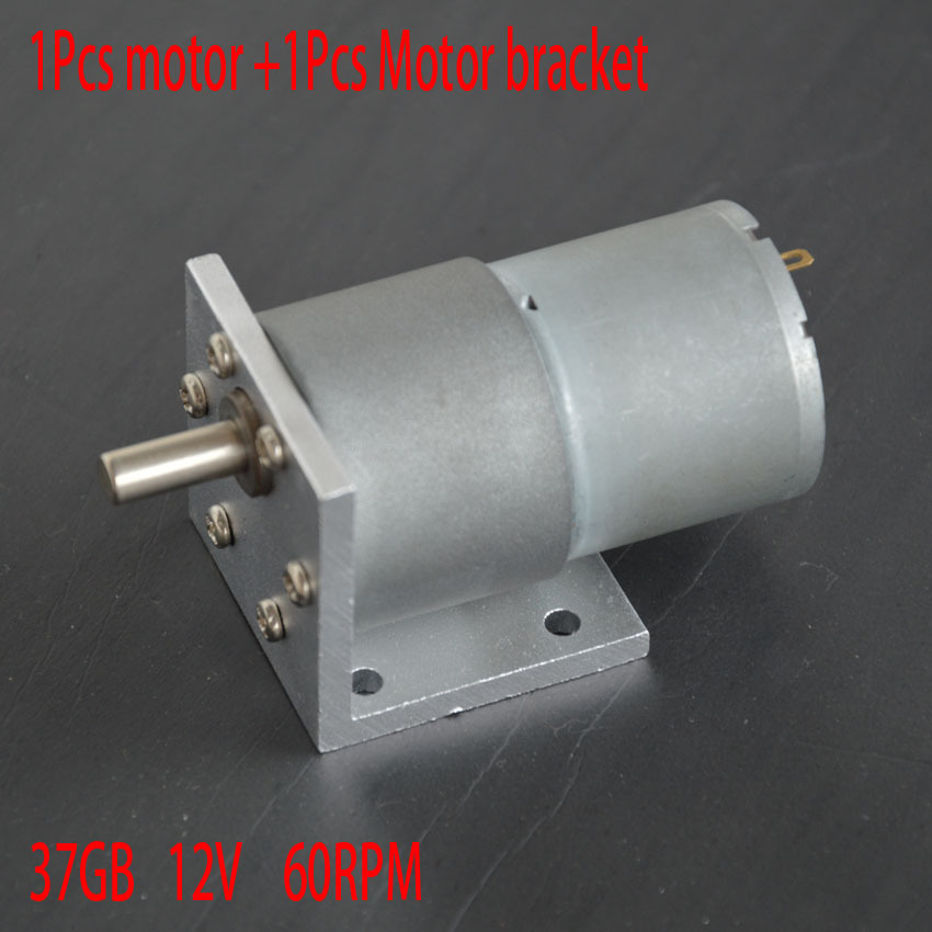1pcs motor + bracket 37GB 37MM 60RPM High-powered Torque 22KG*CM DC 12V motor high torque gear box motor gearmotors CNC motor 2pcs 12v 60 rpm 60rpm high torque gear box dc motor