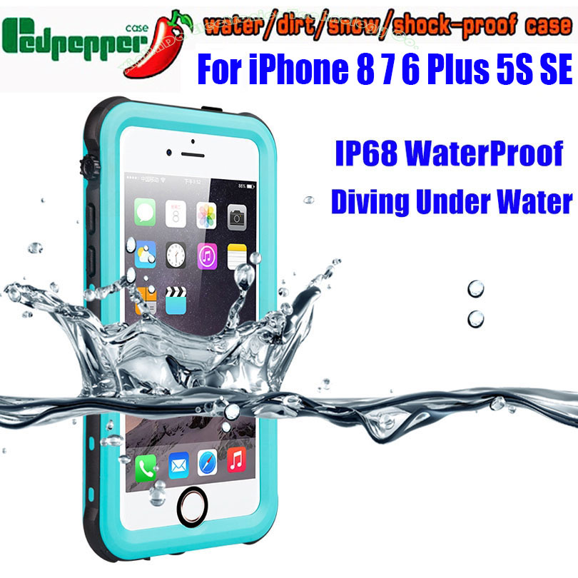 Caso impermeable para el IPhone 6 Plus SE 5S Original RedPepper punto serie IP68 DE BUCEO bajo el agua de la PC de la cubierta del TPU para el IPhone 7 8 ISE3