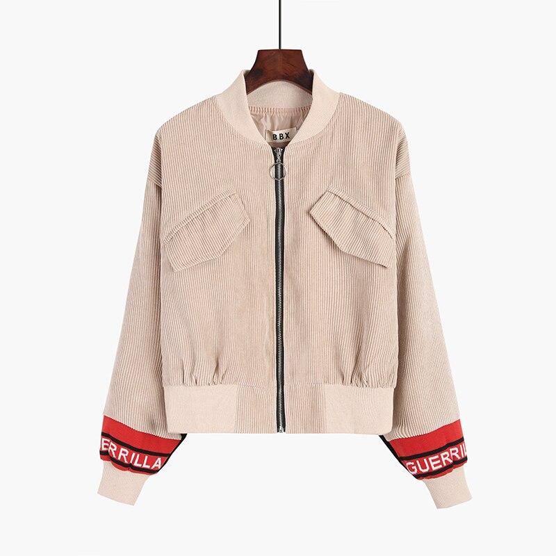 Corduroy Harajuku Fashion Bomber Jacket Women Vintage Womens Jackets And Coats Zip Long Sleeve Cropped Baseball Coat
