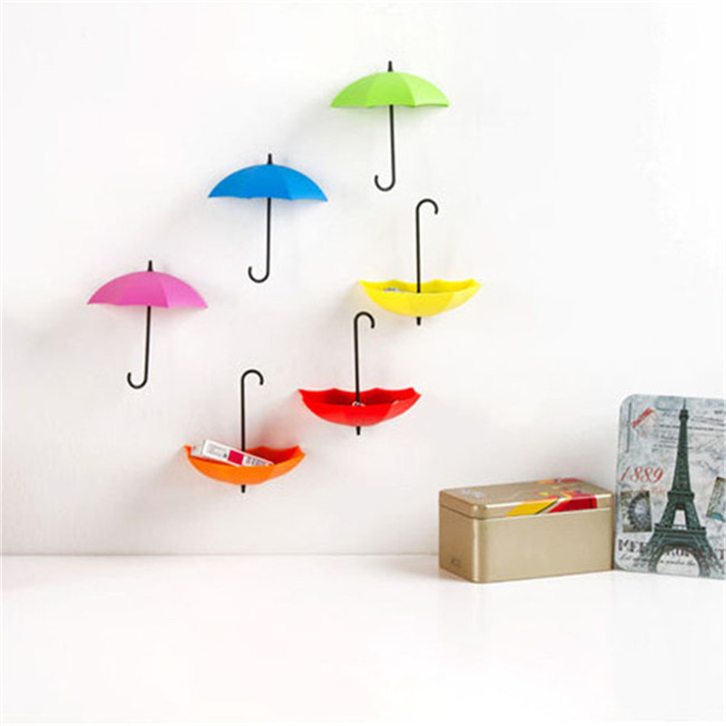 2016 new 3pcs/pack Umbrella shape Wall Mount Hook Key Holder Storage Rack  hanging hooks for Bathroom Home Shelves Sticky hook-in Hooks & Rails from  Home ...