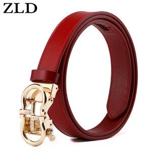 Image 4 - ZLD נשים חגורות יוקרה מפורסם מעצב מותג באיכות גבוהה פרה אמיתי רצועת עור זהב אוטומטי אבזם חגורת עבור שמלה