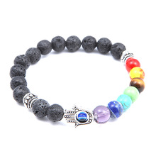 Fashion Glamour Volcanic Rock Colorful Natural Stone Blue Eye Palm Seven Chakra Yoga Energy Bracelet Accessories