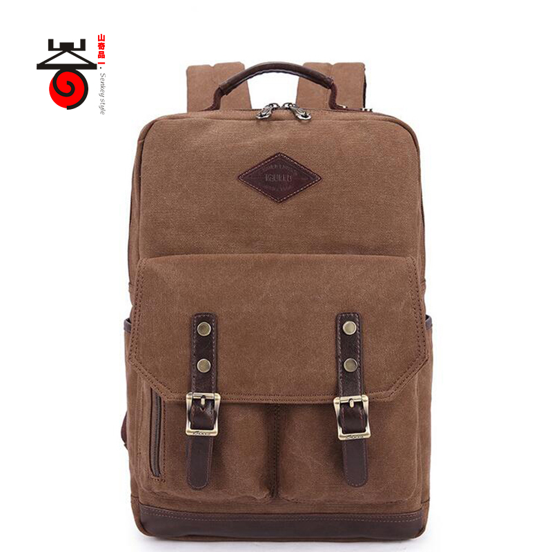 Senkey style 2017 Vintage Men Canvas Backpack College Student School Mochila Casual Rucksack Teenagers Male 15 inch Laptop Bag