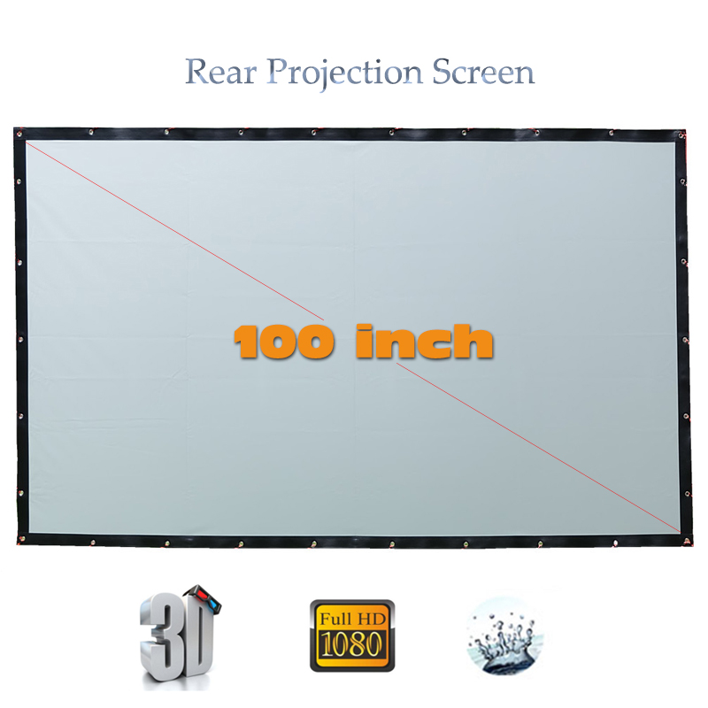 Yovanxer High Brigtness Rear Projector Screen HD 100 inches Behind Projection screens for LED LCD Movie 16:9/4:3 optional 72 inches and the authenticity of the tripod white plastic screen projector projector screen